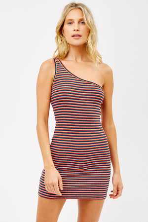 Kinney Sunset Stripe Terry One Shoulder Dress