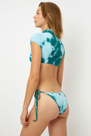 Frankies Bikinis Logan Emerald Tie Dye Mandarin Collar Top