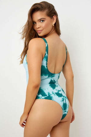 Frankies Bikinis Lottie Peek-a-Boo Emerald Tie Dye One Piece Extended Sizing