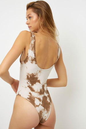 Frankies Bikinis Lottie Peek-a-Boo Brownie Tie Dye One Piece