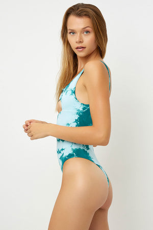 Frankies Bikinis Lottie Peek-a-Boo Emerald Tie Dye One Piece