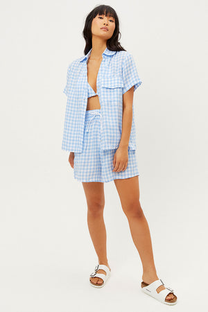 Lou Linen Bluebell Gingham Print Button Up Shirt