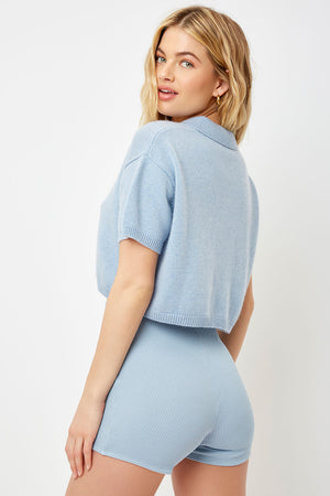 Luka Crop Polo - Baby Blue