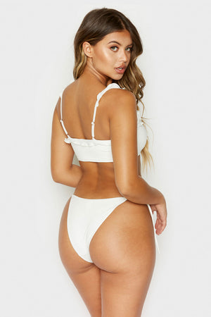 Frankies Bikinis Mackenzie White Side Tie Skimpy Bottom