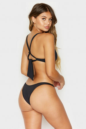 Frankies Bikinis Malibu Black Cheeky Bottom with Knotted Side Accents