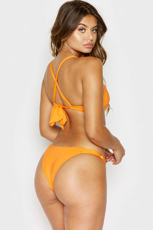 Frankies Bikinis Malibu Citrus Cheeky Bottom with Knotted Side Accents