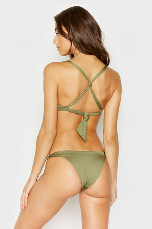 Frankies Bikinis Malibu Olive Cheeky Bottom with Knotted Side Accents