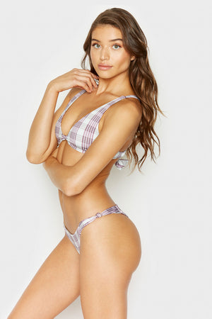 Frankies Bikinis Malibu Tartan Plaid Cheeky Bottom with Knotted Side Accents