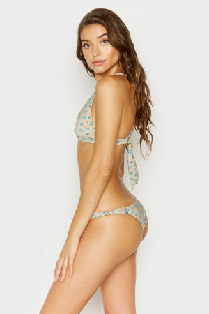 Frankies Bikinis Malibu Spring Bloom Minimal Tie Back Top with Knotted Front and Back Accents