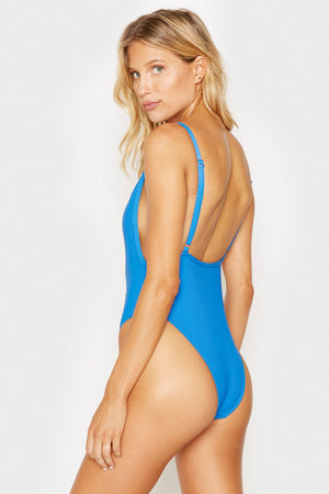Frankies Bikinis Mallory Cobalt Open Back Ribbed One Piece