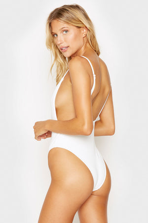 Frankies Bikinis Mallory White Open Back Ribbed One Piece