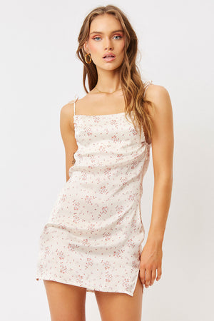 Margrette Silk Sweet Rose Floral Mini Dress