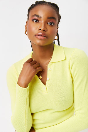 mary jane cintronella yellow cashmere crop polo