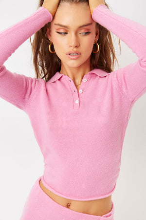 mary jane rose pink cashmere crop polo