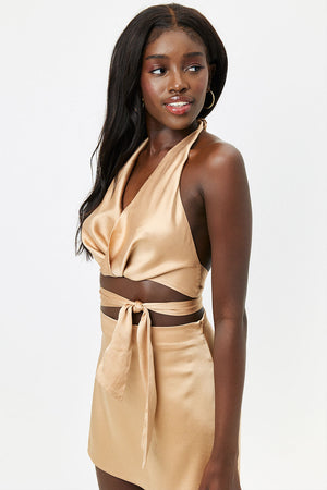 Matilda Silk Earth Halter Wrap Crop Top
