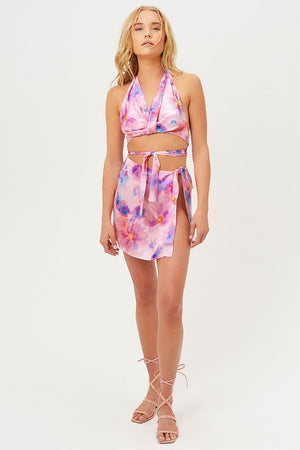 Matilda Silk Watercolor Floral Halter Wrap Crop Top