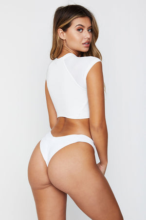 Frankies Bikinis Max White High Cut Cheeky Bottom