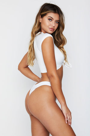 Frankies Bikinis White Black High Cut Cheeky Bottom