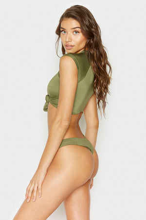 Frankies Bikinis Max Olive Cap Sleeve Nylon Swim Top with Tie Front Detail