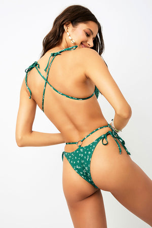 Frankies Bikinis Meredith Green Ditsy Skimpy One Piece