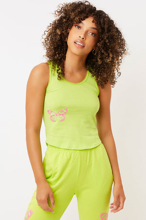 messman grass green butterfly crop tank