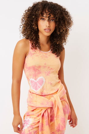 messman sherbet orange tie dye crop tank