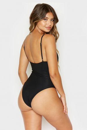 Frankies Bikinis Mojave Black V-neck Ribbed Cheeky One Piece