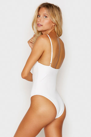Frankies Bikinis Mojave White V-neck Ribbed Cheeky One Piece