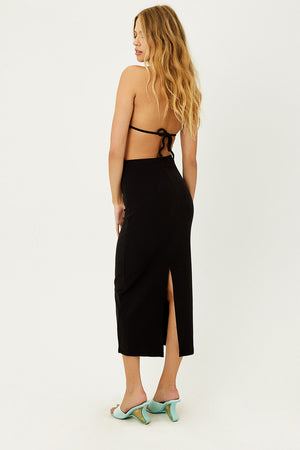 Opal Black Terry Maxi Skirt with Slit in Back