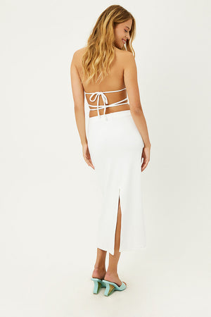 Opal White Terry Maxi Skirt with Slit in Back