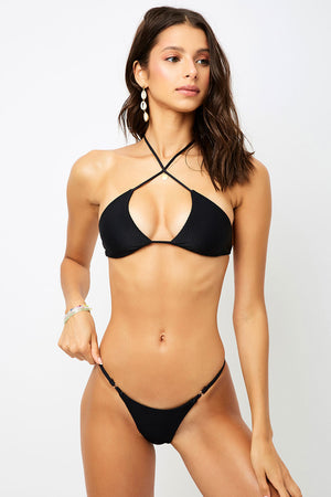 Frankies Bikinis Pamela Black Cross Strap Ribbed Top