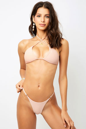 Frankies Bikinis Pamela Peach Cross Strap Ribbed Top