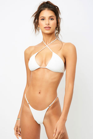 Frankies Bikinis Pamela White Cross Strap Ribbed Top