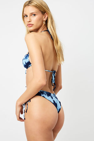 Frankies Bikinis Reed Blue Tie Dye V Shape Cheeky Bottom