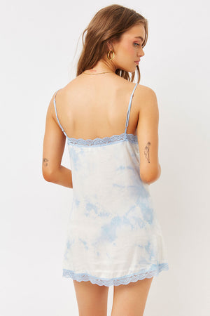 Riley Lace Silk Baby Blue Tie Dye Mini Dress