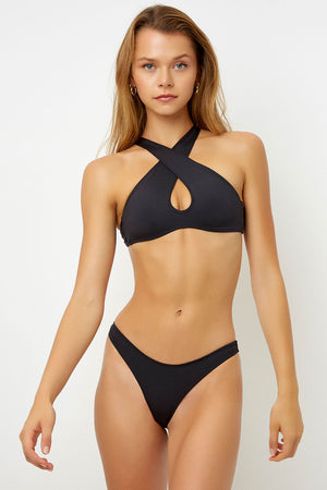 Frankies Bikinis River Black Halter Top