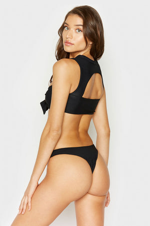 Frankies Bikinis Ronnie Black Ribbed Top with Cut Out and Knotted Detail
