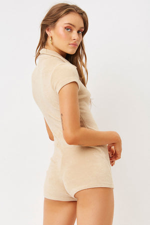 Rose Sand Terry Button up Romper
