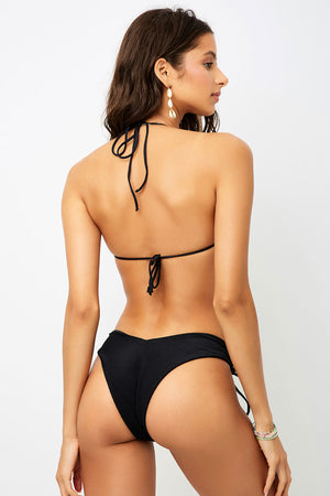 Frankies Bikinis Ruby Black High Leg Ribbed Bottom