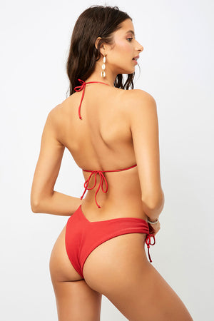 Frankies Bikinis Ruby Cherry High Leg Ribbed Bottom