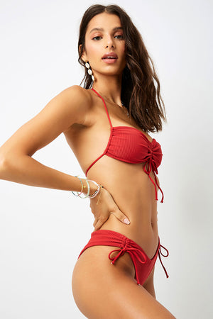 Frankies Bikinis Ruby Cherry Ribbed Bandeau Top