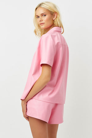 rusty vegan leather pink punch button up shirt
