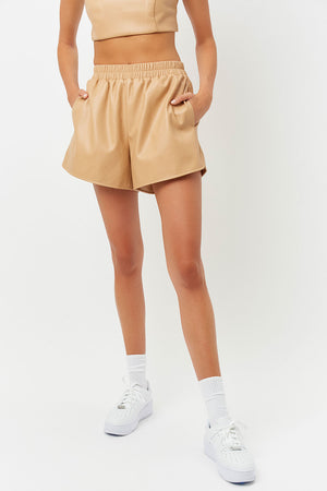rusty vegan leather earth shorts