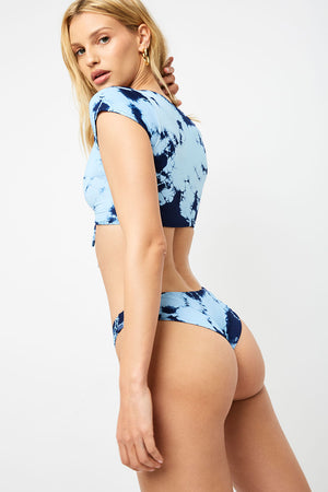 Frankies Bikinis Ryan Blue Tie Dye Cheeky Bottom