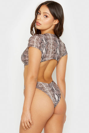 Frankies Bikinis Snakeprint Sammy High Leg Cheeky Bottom