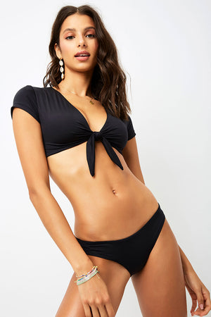 Frankies Bikinis Sammy Black Front Tie Crop Top