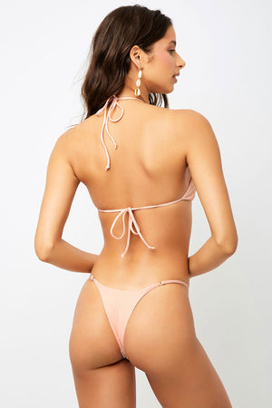 Frankies Bikinis Sara Peach Ribbed Skimpy Bottom