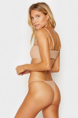 Frankies Bikinis Scarlett Nude Ribbed Bandeau Style Top with Removable Thin Straps