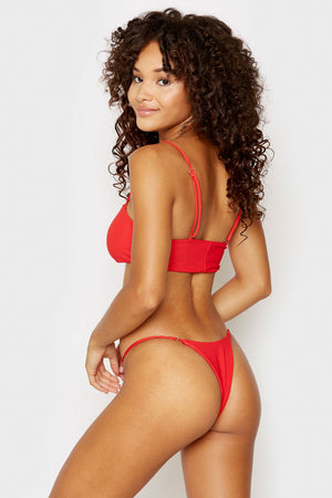 Frankies Bikinis Sara Red Ribbed Skimpy Bottom
