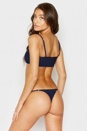 Frankies Bikinis Sara Navy Ribbed Skimpy Bottom